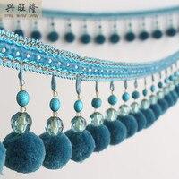 6M Lot 8 5cm Width Pompon Beads Curtain Lace Accessories Tassel Fringe Trim Ribbon DIY Sewing