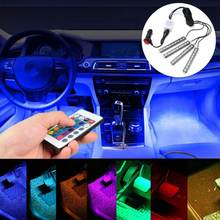 1Set  5050 Car Auto LED RGB Interior Floor Decorative Lights Atmosphere Strip Pathway Floor Light Remote Control DC 12V 9SMD 10W
