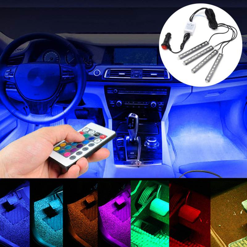 1set 5050 car auto led rgb interior floor decorative lights atmosphere strip pathway floor light. Black Bedroom Furniture Sets. Home Design Ideas