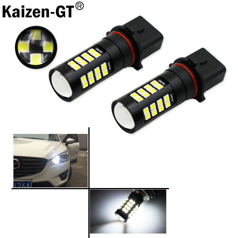 2pcs HID Xenon White High Power High Quality 3030SMD P13W LED Bulbs For Mazda CX-5 Daytime Running Lights deechooll 2pcs wedge light for mazda 2 3 5 6 mx5 rx8 cx7 626 gf gg ge gw canbus t10 57smd 6w led clearance xenon lighting bulbs