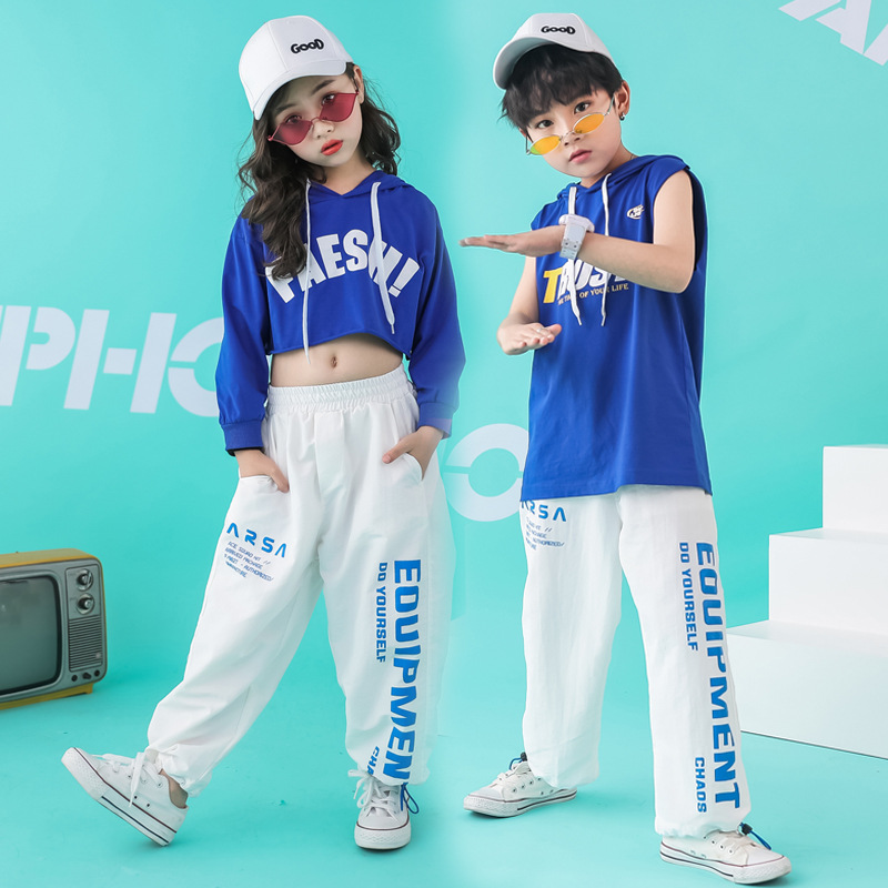 Kid Hip Hop Clothing Cropped Hoodie Sweatshirt Shirt Tops Casual Pants For Girls Boy Dance Costume Wear Ballroom Dancing Clothes