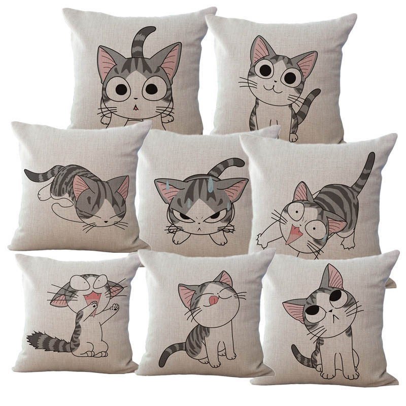 Lovely Cat Cushion Cover Throw Pillows Covers Decorative Pillows For Sofa  Bedroom Car Home Decor(