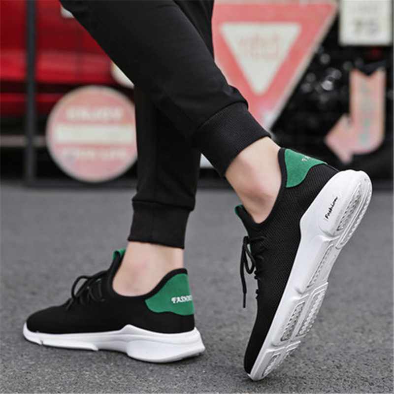 Men Sneakers 2018 Men Flat Shoes Lace-up Solid Breathable Men Shoes Non-slip Casual Shoes Size 39-44