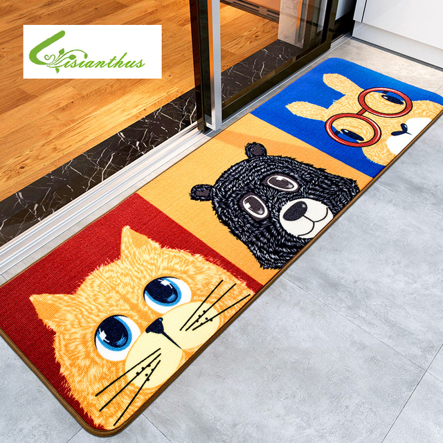 Soft Cartoon Carpets Pet Dogs Printed Absorbent Non Slip Indoor Porch  Carpet House Doormats For