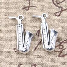 Saxophone Antique Silver Charms Wholesale 5Pcs
