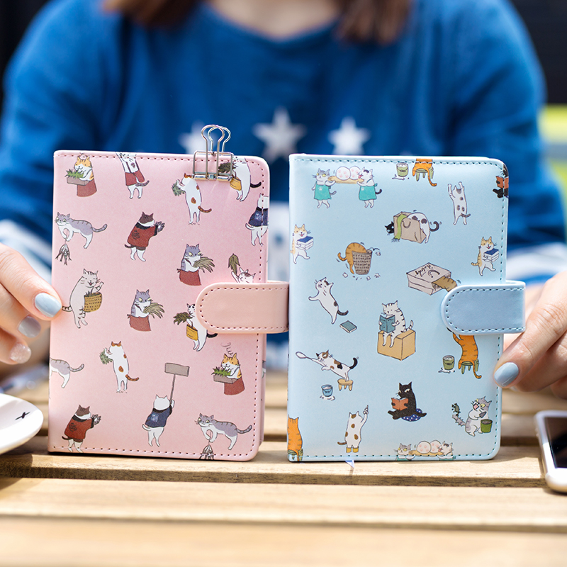 Fromthenon Creative Stationery Cute Cat Notebook Leather Cover Kids Notebook With Color Paper Binder Diary Gift School Supplies