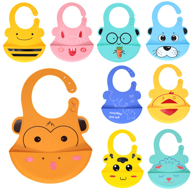 Cartoon large adjustable creative silica gel mouth bib baby products cute eating