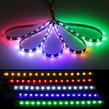 2pcs 30cm Led Strip 12v Pink Flexible Led Daytime Running Lights Red Waterproof Car Auto Decorative High Power Flexible Led DRL image