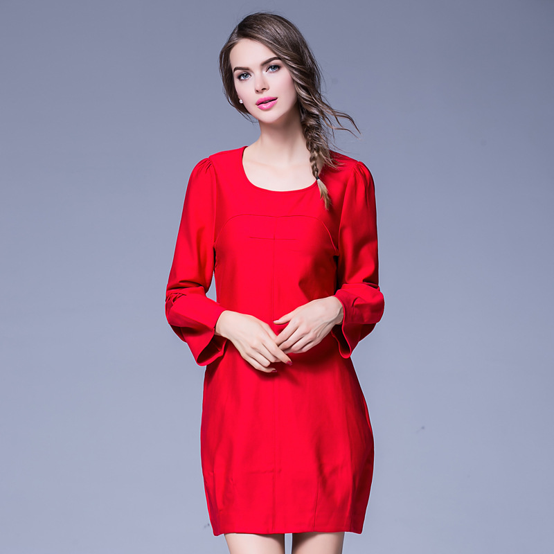 7b07b26af New2016Autumn talles para Las Mujeres vestido bud vestido de manga farol  rojo Capullo vestido de mujer vestido de la oficina OL vestidos casuales  XXXXXL ...