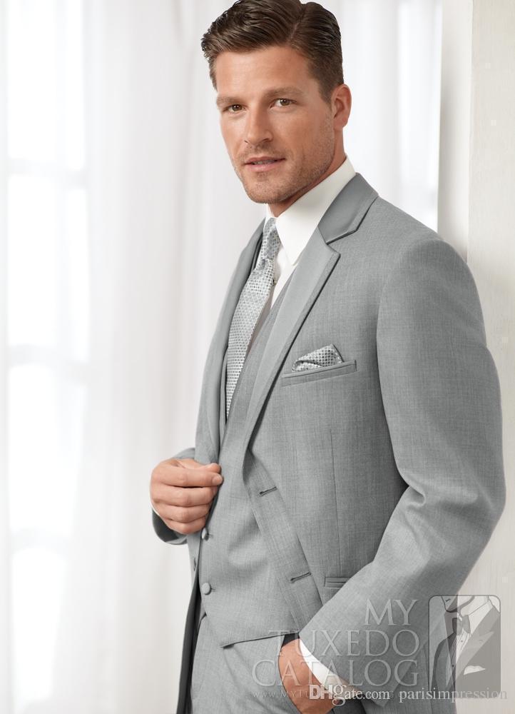 New Arrival light grey wedding suits for men notched lapel frim fit ...
