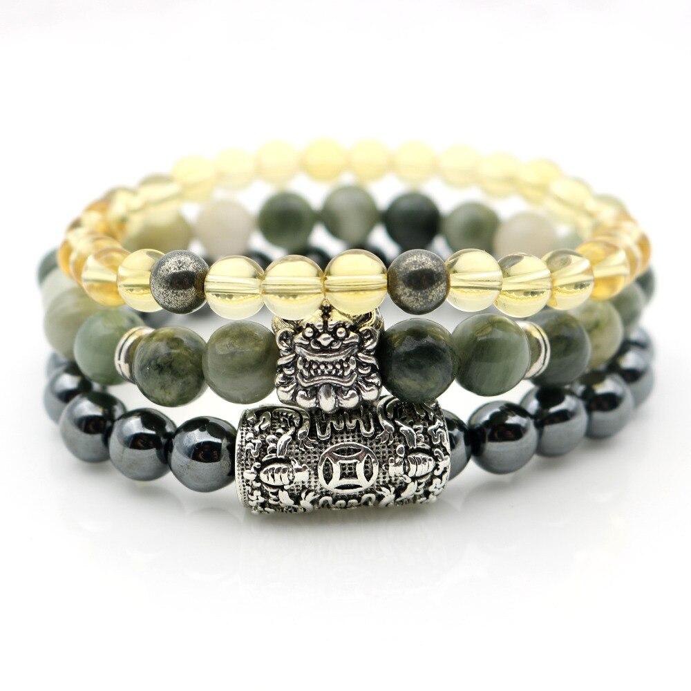 Pi xiu Charme Armbänder Reichtum Geld Symbol Grün Steine Gelb Hämatit Perlen Steine Armbänder Armreifen