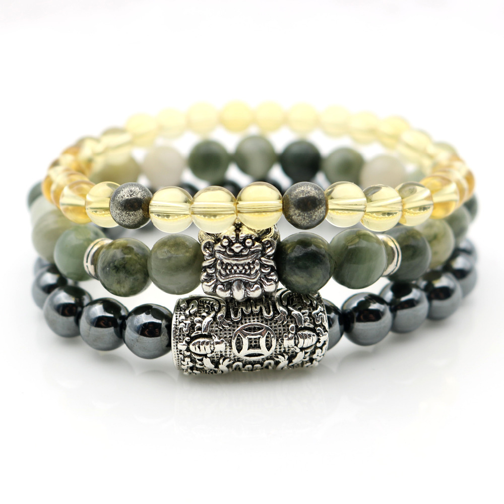 Pi xiu Charm Bracelets Wealth Money Symbol Green Stones Yellow Hematite Beaded Stones Bracelets Bangles