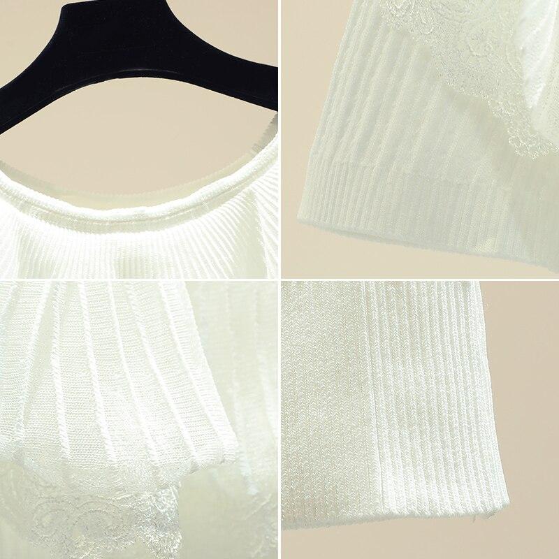 Dentelle Patchwork volants haut tricoté pour les femmes nouveau printemps été à manches courtes chandails femmes mince tricot pulls - 4