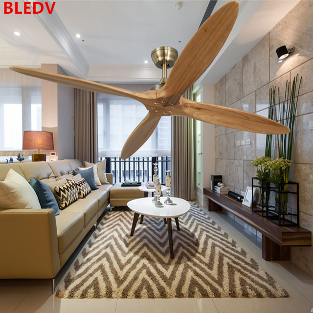 56 Inch Bronze Wooden Dc Ceiling Fan Remote Control Wood Decorative Fans Without Light