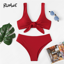 Romwe Sport Bowknot Plunge Neck Bikinis Top Women High Waist Set Summer Wire Free With Chest Pads Bathing Suits Swimwear