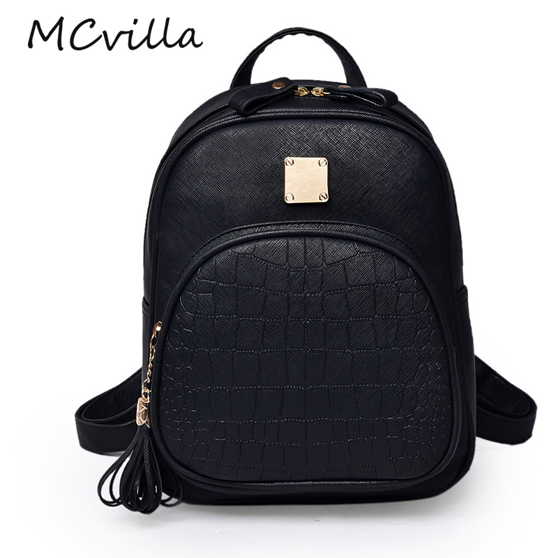 Vintage Mini Tassel Women Bakcpack Solid School Bag Simple Bags for Teenage Girls Female Leather Backpack Rucksack Black ...