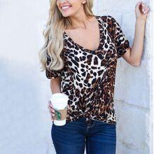 Women Chiffon V-neck T-shirts Leopard Print Tees Loose Short Sleeve Casual Tops