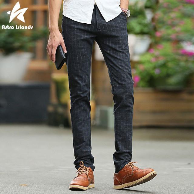 2016 Otoño Invierno Moda Hombres Pantalones A Cuadros Impreso Delgado Algodón de Los Hombres Casuales pantalones Deportivos Pantalones Ropa de la Marca Más Tamaño LW187