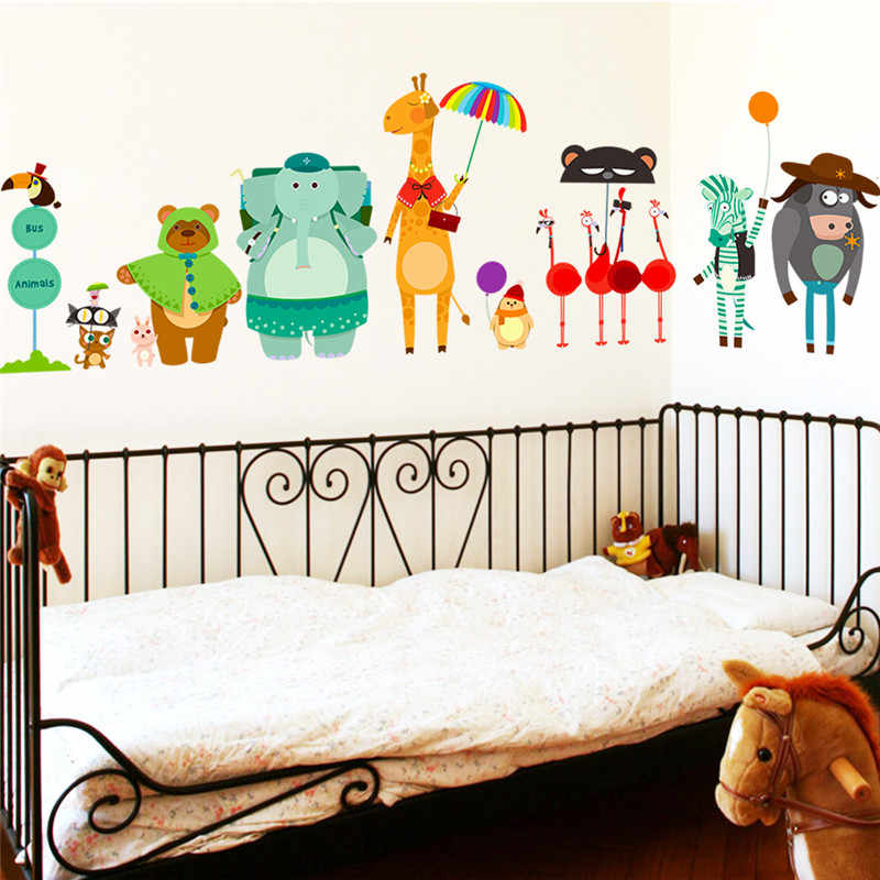 Cartoon Forest Animals Wall Stickers Per Bambini Camere Nursery Camera Dei Bambini Decor Giraffa Orso Elephat Parete Decalcomanie Diy Mural Art