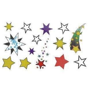 (15pcs/lot) Free shipping colorful fashion stars  tattoo sticker, body tattoo sticker, body sticker