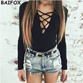 BAIFOX Autumn Winter Women Tops 2017 Sexy Casual Loose Long-sleeved V-neck Shirts Street Fashion Pullover Female Sweaters Spring