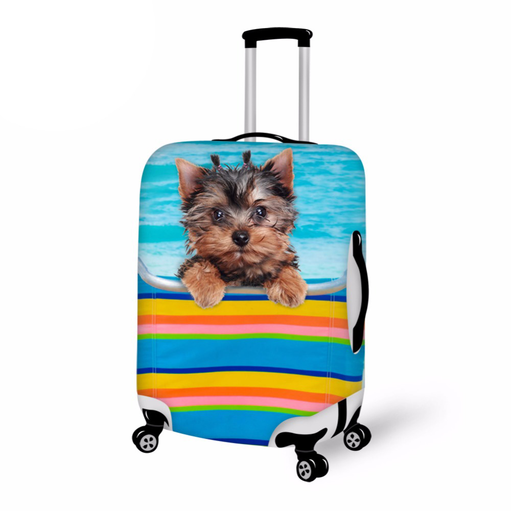 Blue Printing Puppy Dog Travel Suitcase Cover Elastic 18-30inch Luggage Protective Dust Cover Organizer Travel Cover