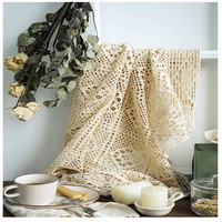 Handmade Crocheted Tablecloth 100% Cotton Knitted Lace American Country Tablecloth t Light Luxury Wedding Dessert Table Cover