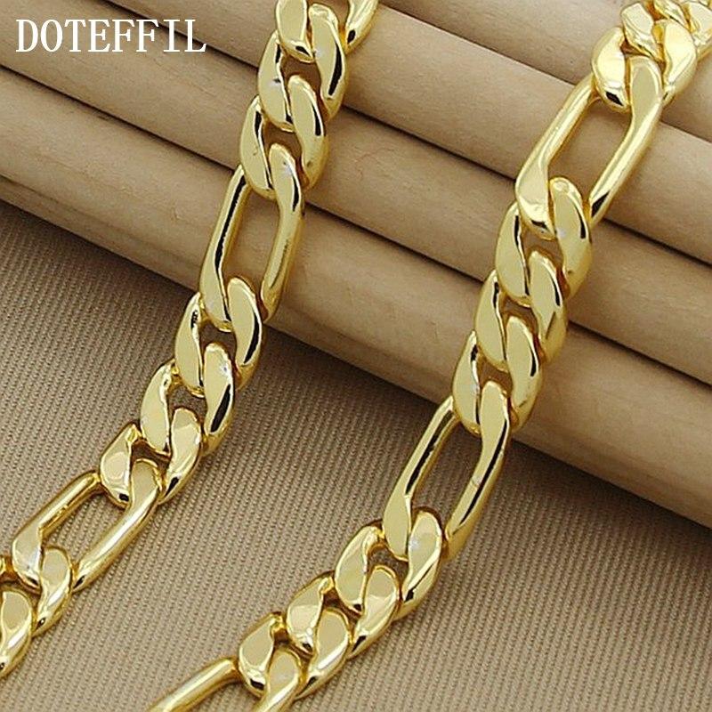 DOTEFFIL 8mm 22-Zoll Gold Kette Link Halskette Für Frauen Männer Hochzeit Engagement Party Schmuck