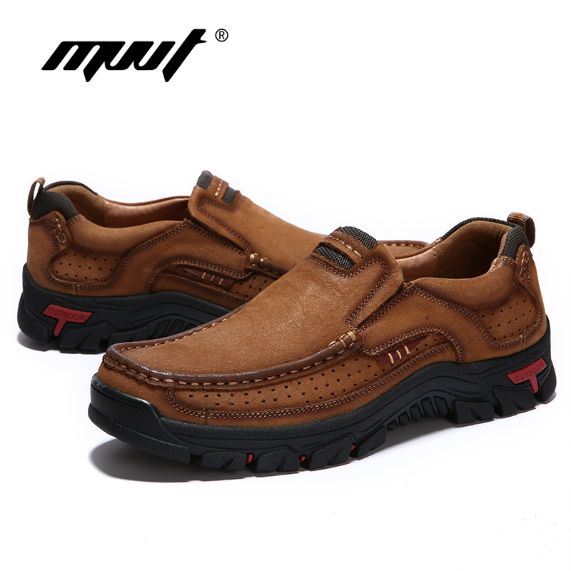MVVT 100% En Cuir Véritable Chaussures Hommes En Cuir de Vache Casual Chaussures En Plein Air Masculins Haute Qualité Hommes Appartements 2 Style Dentelle- up Homme Chaussures - 5