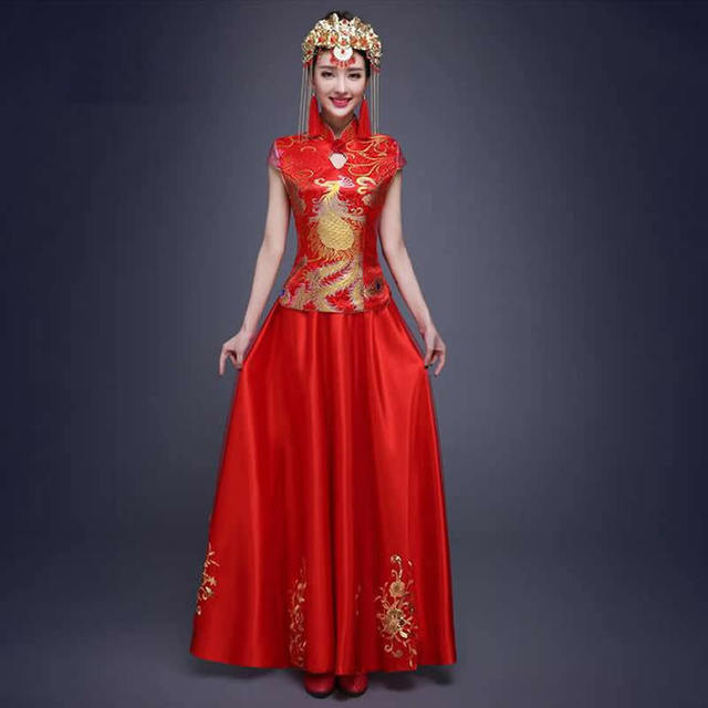 2016 Traditional Chinese Wedding Dress Red Bride Wedding Dresses Qipao Long Cheongsam Robe Chinoise Vestido Oriental Qi Pao