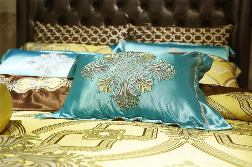10 ピース高級サテン王室の寝具セット黄金色クイーンキングサイズの羽毛布団ベッドカバーベッド/フラットシートベッドベッドスプレッドセット枕