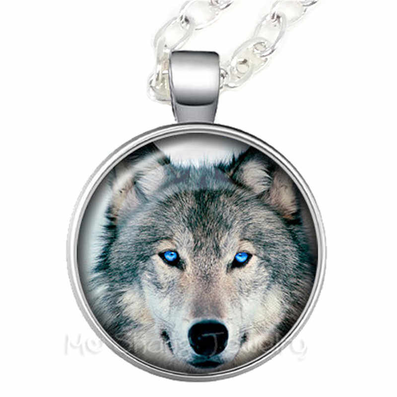 2018 Serigala dan Bulan Kalung Kaca Liontin Serigala Perhiasan Oz Perhiasan Wearable Art POTO Kalung Natal Hadiah untuk Wanita