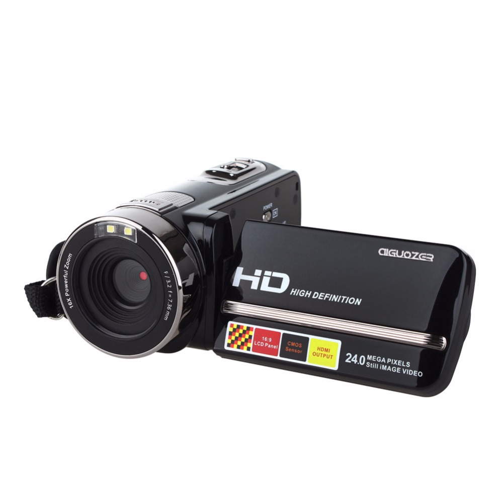 3.0 Digital Video Camera Rotatable LCD Screen Mini Camcorder 1080P Full HD 24 MP CMOS Support Face Detection aputure v screen vs 2 finehd lcd field digital multi function monitor 7inch full hd lcd screen finehd for dslr for camcorder