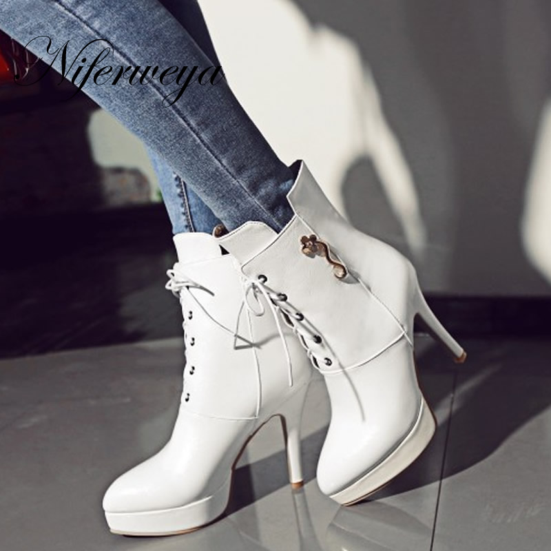 2016 Fashion Winter women shoes sexy Pointed Toe platform thin heel high heels big size 32-46 solid PU Lace-Up Ankle boots купить
