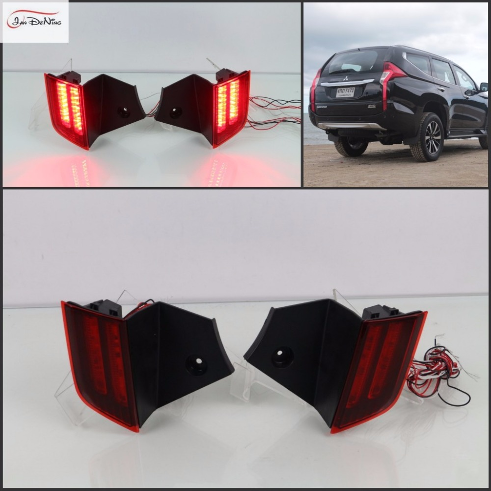 JanDeNing Car Tail LED Rear Bumper Reflectors Light Brake Lights For MITSUBISHI PAJERO SPORT 2015-2017 dongzhen fit for nissan bluebird sylphy almera led red rear bumper reflectors light night running brake warning lights lamp