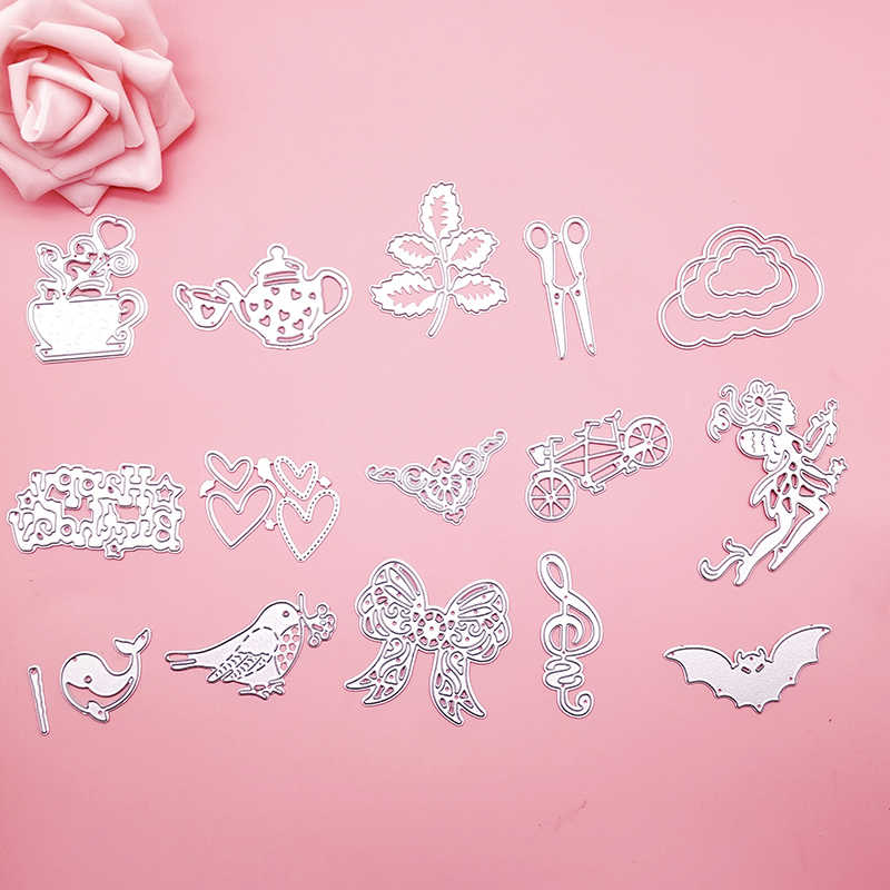 Cloud Leaves Heart Bowkot Bow Happy birthday Metal Cutting Die Stencils for DIY Scrapbooking album Decorative Paper Cards