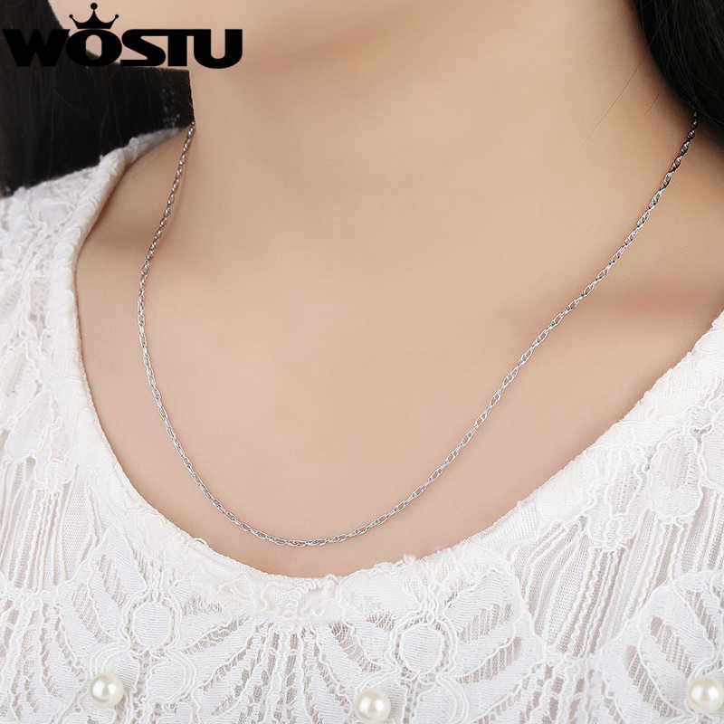 Oryginalna 100% 925 Sterling srebrne łańcuszki naszyjniki nadające się do wisiorek urok dla kobiet luksusowe S925 biżuteria prezent CQA002