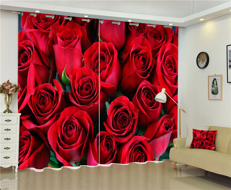 Red rose Luxury 3D Blackout Curtains For Living room Kids Boys Bedding room Drapes Cotinas para sala Halloween DecorativeRed rose Luxury 3D Blackout Curtains For Living room Kids Boys Bedding room Drapes Cotinas para sala Halloween Decorative