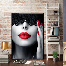 Abstract Black Red Lips Canvas Painting Sexy Woman Nordic Wall Pop Art Poster Prints Vogue Decoration Pictures Living Home Room