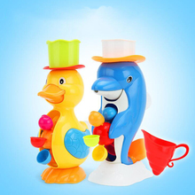 Kids Toddler Shower Bath Toys Cute Duck Waterwheel Dolphin Toys Baby Faucet Bathing Water Spraying Tool Wheel Type kids shower bath toys cute duck waterwheel dolphin baby faucet water spraying wheel type dabbling sunflower crab children gift