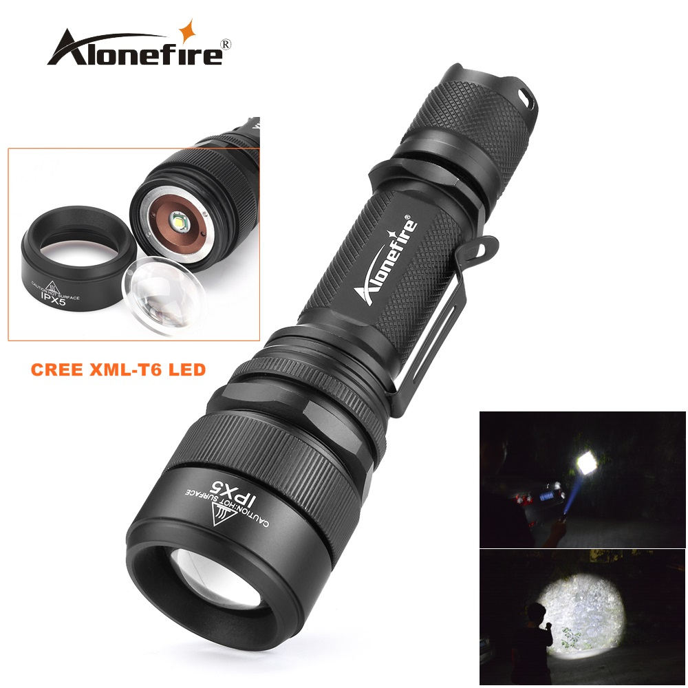 Alonefire G910 waterproof zoom torch CREE XML-T6 LED Adjustable Zoom Focus Flashlight Torch Lamp Light for 18650 Battery 10w led tactical flashlight t6 zoom torch waterproof 18650 lanternas practical light for bike lamp cheap sale