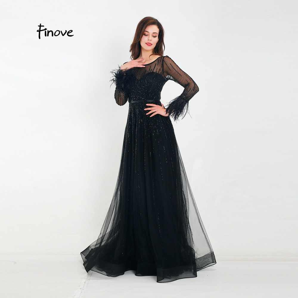 ... Finove Evening Dress 2019 New Arrivals Gorgeous Black A-Line Gowns Full  Sleeves Feathers Neck 3a0b03f5181e