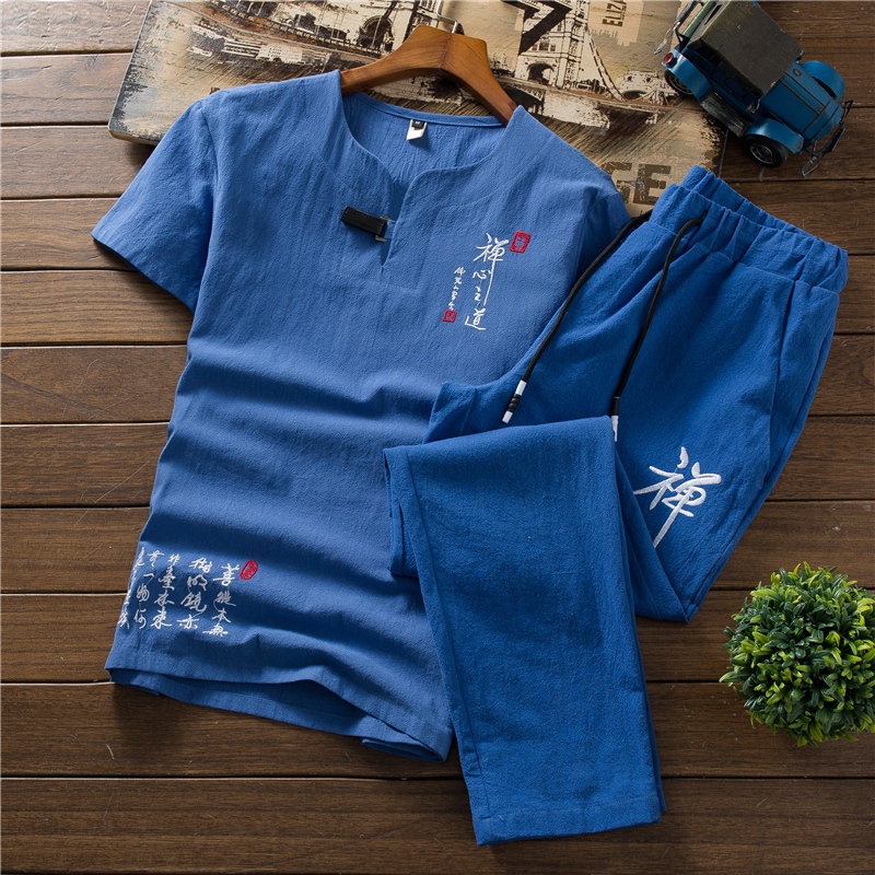 2019 new Embroidered Men Short sleeved tshirt and pants Asia size S 6XL Seven Colors Select Mens Two piece Set 7 color choice