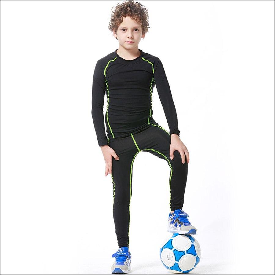 2017 Nouveau Enfants Garçons compression runing pantalon chemises ensemble maillots survetement football formation de football des jeunes skinny collants leggings