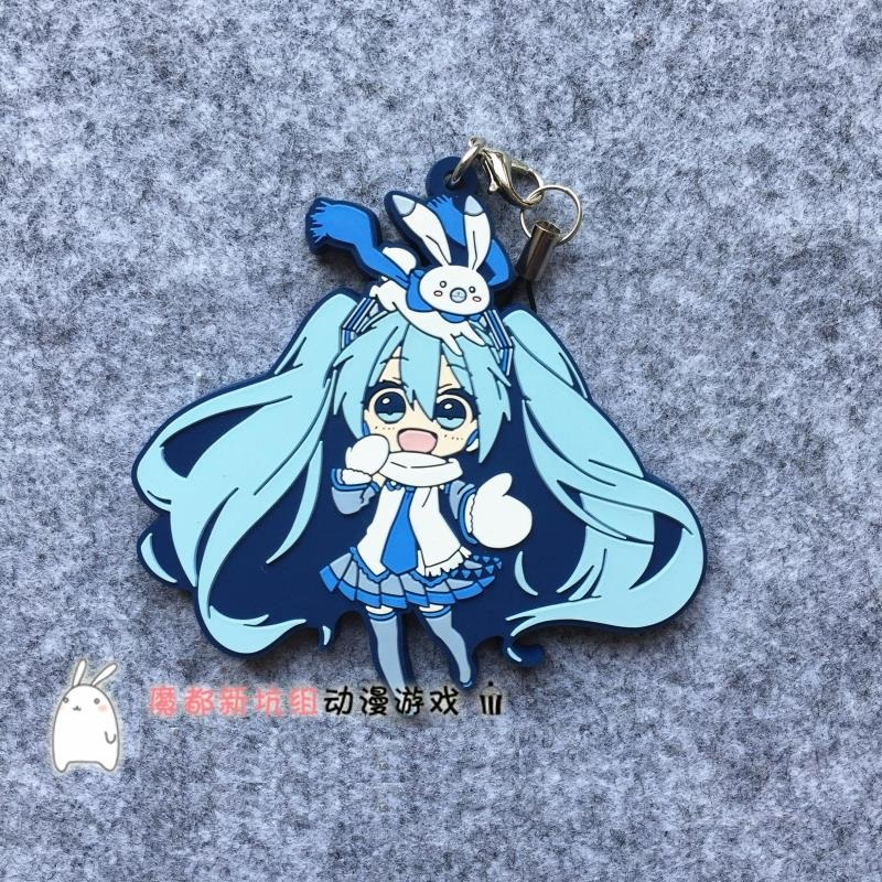 Hatsune Miku Anime VOCALOID 2016 2017 Snow Yuki Miku Rubber Keychain new arrival vocaloid hatsune miku snow miku cosplay wig long straight synthetic hair wig with double ponytails