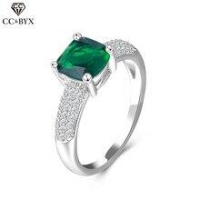 CC 925 пробы серебряные ювелирные изделия Винтажное кольцо с зеленым камнем для женщин вечерние обручальное кольцо Бижу модные аксессуары CC534