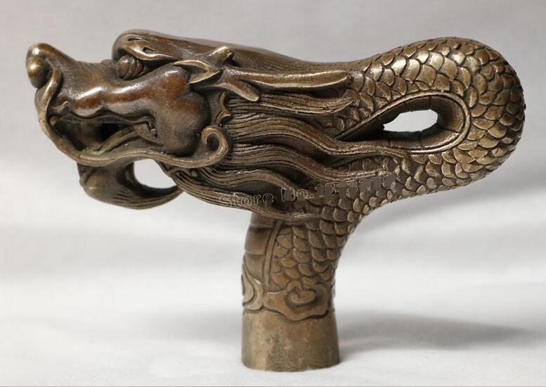 bronze Pure Copper Old Qing Ming China Old Handwork Carving Bronze Dragon Statue Cane Head Walking Stick