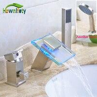 Nickel Brushed Bathroom Sink Faucet Single Handle Mixer Tap with Handheld Shower Sprayer