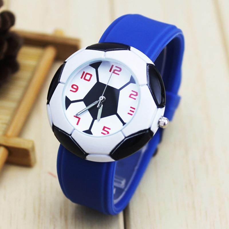 2018 New Dropshipping Cool 3D Football Cartoon Children Rubber Kids Watches Boys Cheap Blue Silicone Quartz Electronic WristWat