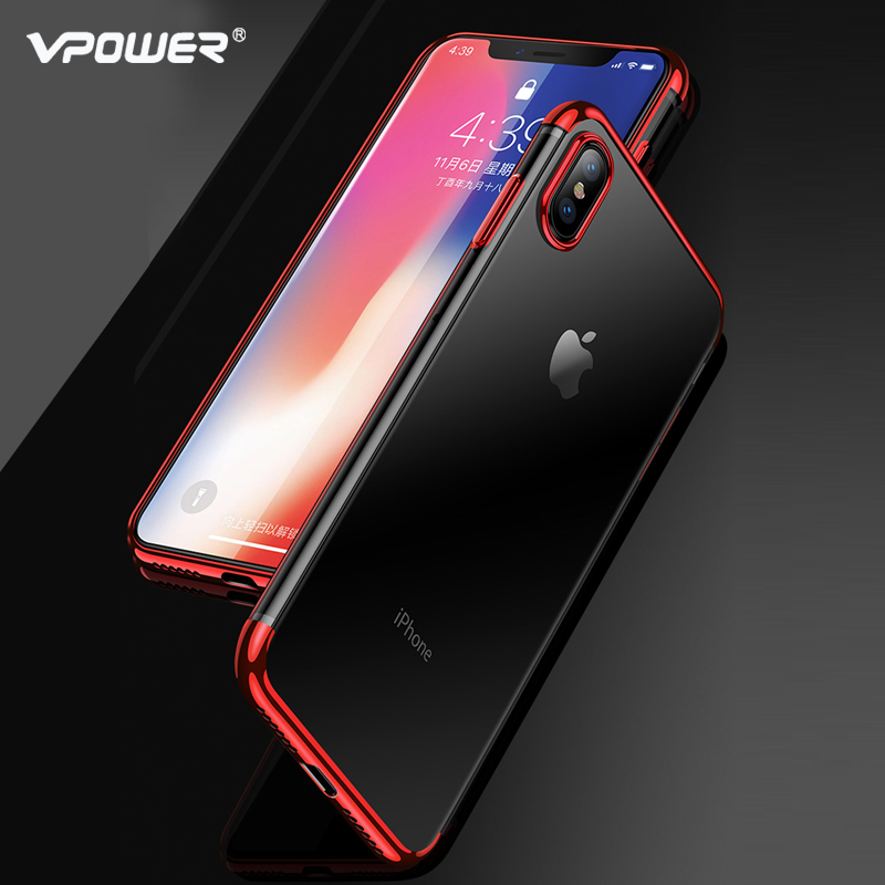 For iPhone XS XS Max case, Vpower Painted frame Crystal Clear tpu soft Phone case for iphone xs xr xs max 8 8 plus case cover